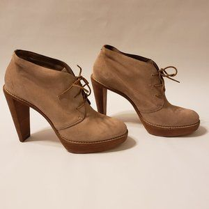 Cole Haan Nike Air lace up Tan Suede Booties